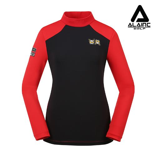 [ALAIRE GOLF] 여성 배색 소매 패치 터틀넥 티셔츠