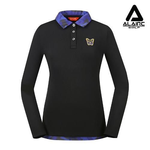 [알레어 골프] 여성 광택 프린팅 카라 티셔츠(AFB3TY304-BK)