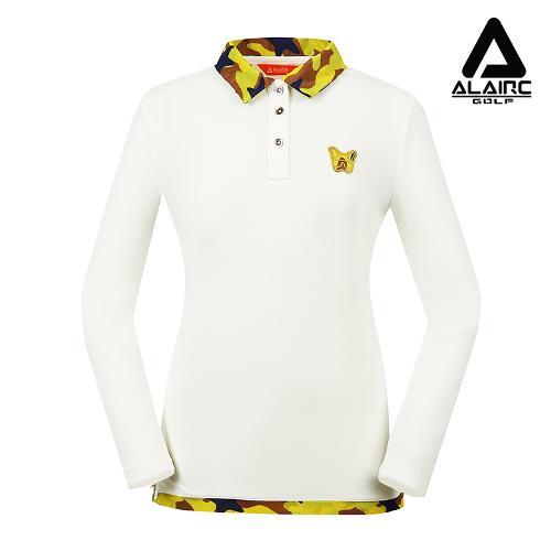 [알레어 골프] 여성 광택 프린팅 카라 티셔츠(AFB3TY304-WH)