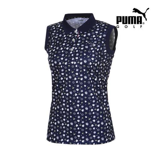 [푸마골프] 여성 Multi 패턴 민소매 PK 반팔 티셔츠 92357001_GA