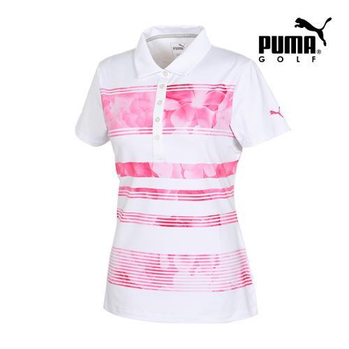 [푸마골프] 여성 BLOOM 스트라이프 PK 반팔 티셔츠 57371001_GA