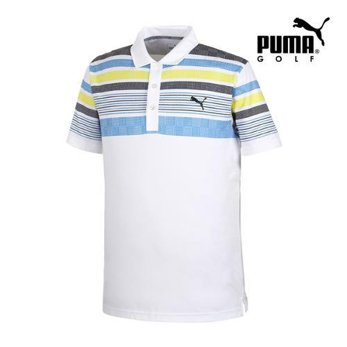 [푸마골프] 남성 Jersey 스트라이프 PK 반팔 티셔츠 57362603_GA