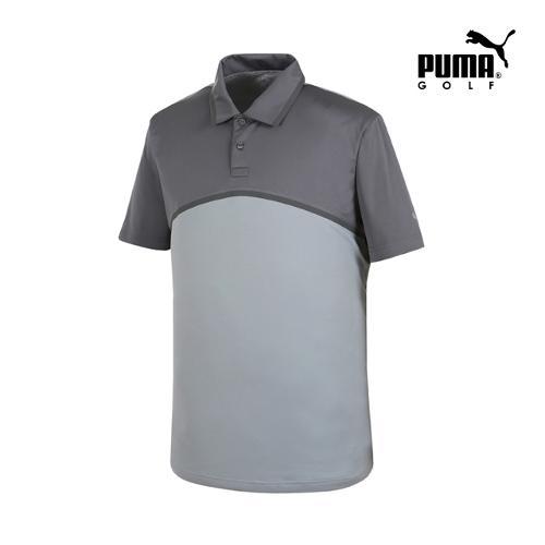 [푸마골프] 남성 Tailored 컬러블럭 PK 반팔 티셔츠 57235802_GA