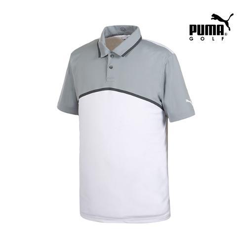 [푸마골프] 남성 Tailored 컬러블럭 PK 반팔 티셔츠 57235801_GA
