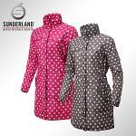 선덜랜드 여성 최고급 완벽방수 심실링처리 도트무늬 소매탈부착 레인코트/사파리비옷 16412RC22
