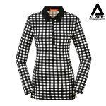 [알레어 골프] 여성 체크패턴 심플 카라티셔츠(AFB2TS110-BK)