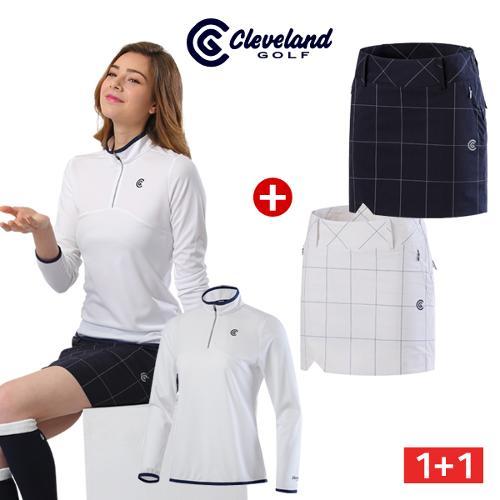 [클리브랜드골프] 에어로쿨 여성 집업 긴팔티셔츠 + 사각체크 골프큐롯/골프웨어_CG040621