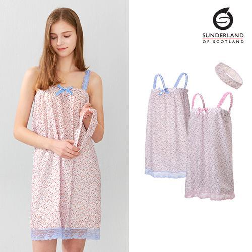 선덜랜드 여성 플라워무늬 레이스 샤워가운 (헤어밴드 증정) - 16512SG02