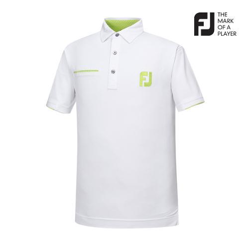 [풋조이] 남성 솔리드 포켓 배색 티셔츠(92007)_GA