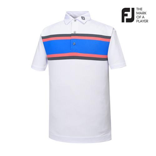 [풋조이] 남성 체스트 스트라이프 티셔츠(91958)_GA