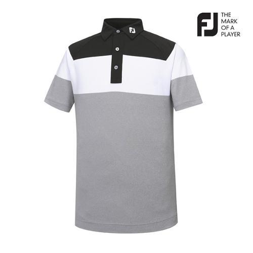 [풋조이] 남성 컬러블럭 패턴 티셔츠(92019)_GA