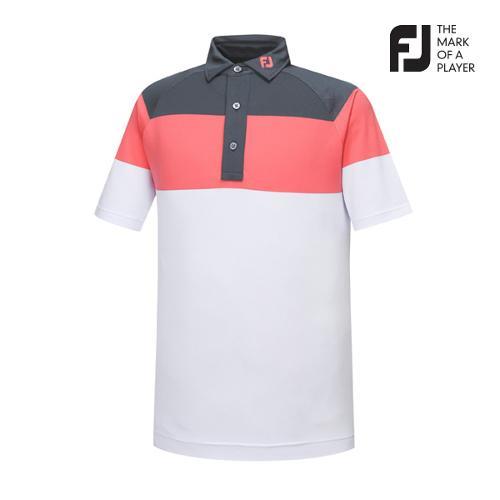 [풋조이] 남성 컬러블럭 패턴 티셔츠(92017)_GA