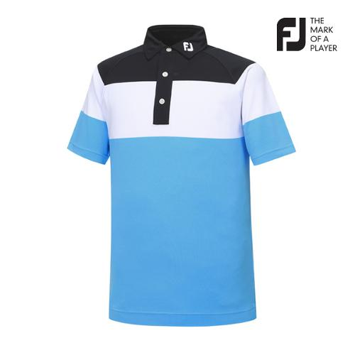 [풋조이] 남성 컬러블럭 패턴 티셔츠(92016)_GA