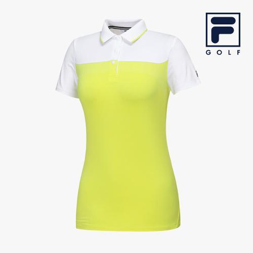 [FILA GOLF] 여성 컬러블럭 카라넥 반팔티셔츠 FG2TSA2204F-WHI_GA