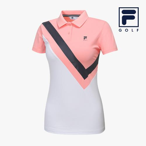 [FILA GOLF] 여성 사선절개배색 카라넥 반팔티셔츠 FG2TSA2260F-SPK_GA