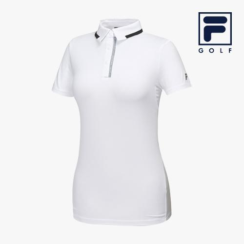 [FILA GOLF] 여성 라인배색 카라넥 반팔티셔츠 FG2TSA2201F-WHI_GA