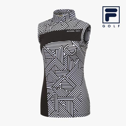 [FILA GOLF] 여성 절개패턴배색 하프넥 민소매티셔츠 FG2TSA2208F-BLK_GA