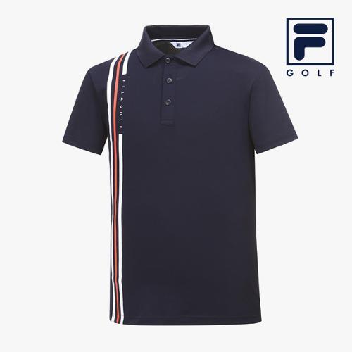 [FILA GOLF] 남성 세로3줄라인배색 카라넥 반팔티셔츠 FG2TSA2260M-NAY_GA