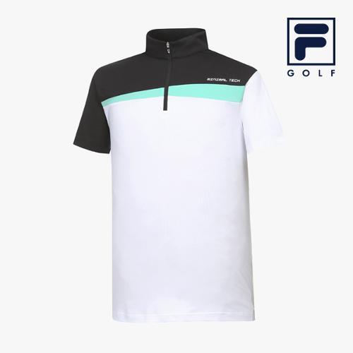 [FILA GOLF] 남성 컬러블럭 반집업 반팔티셔츠 FG2TSA2208M-WHI_GA