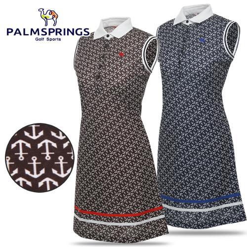 [팜스프링스] 스판 닻 패턴 여성 카라넥 민소매 원피스/골프웨어_238597