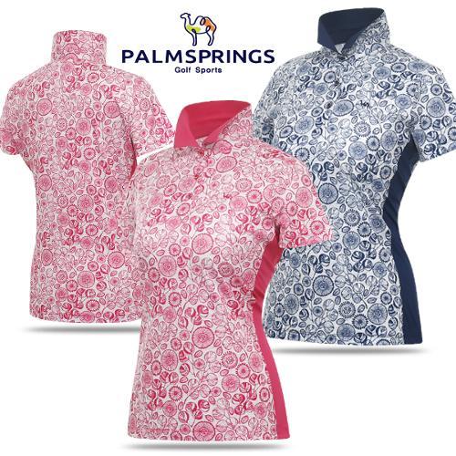 [팜스프링스] 스판 배색 플라워 패턴 여성 카라넥 반팔티셔츠/골프웨어_238673