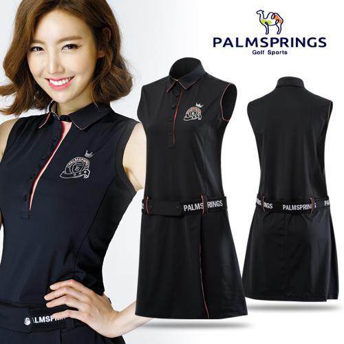 [팜스프링스] 허리벨트 포인트 민소매 여성 원피스형 티셔츠/골프웨어_238662