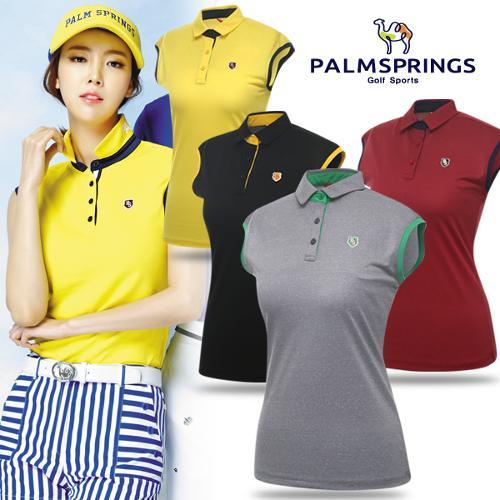[팜스프링스] 투톤 배색 여성 민소매 티셔츠/골프웨어_238661