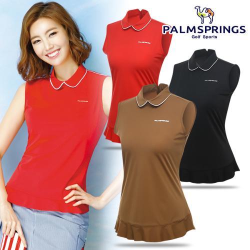 [팜스프링스] 라운드 카라넥 밑단 셔링 여성 민소매 티셔츠/골프웨어_238652