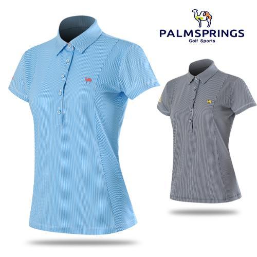 [팜스프링스] 잔스트라이프 셔츠 패턴 여성 반팔티셔츠/골프웨어_238650