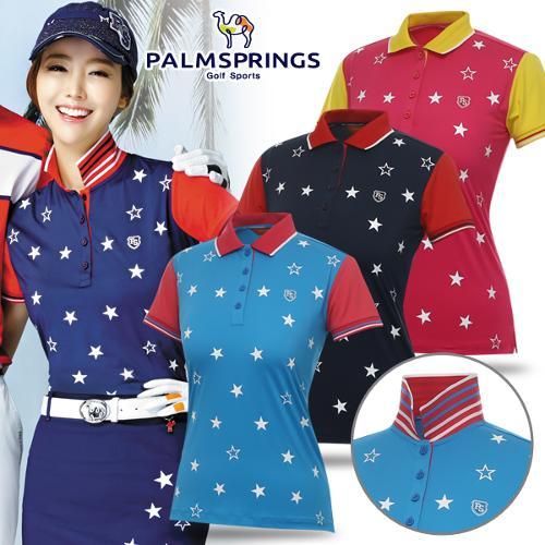 [팜스프링스] 폴리스판 별 프린팅 패턴 여성 카라넥 티셔츠/골프웨어_238601