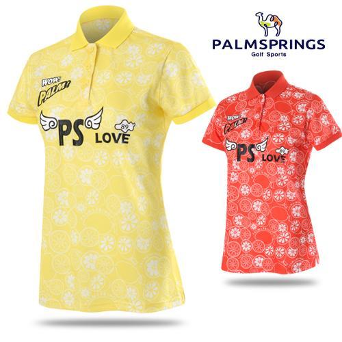 [팜스프링스] 폴리스판 레몬 슬라이스패턴 여성 반팔티셔츠/골프웨어_238599