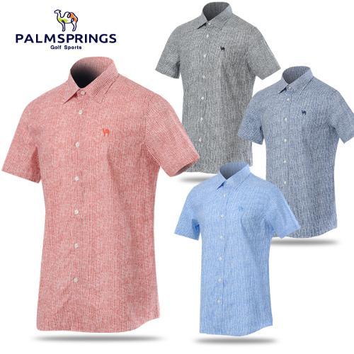 [팜스프링스] 순면 세로 스트라이프 남성 반팔 셔츠/남방/골프웨어_238531