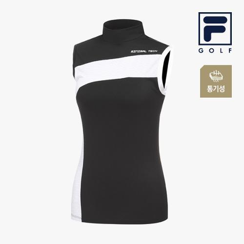 [FILA GOLF] 여성 절개패턴 메쉬 하프넥 민소매 티셔츠 FG2TSA2207F-BLK_GA