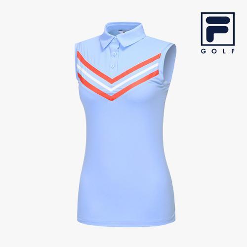 [FILA GOLF] 여성 V패턴 카라넥 민소매 티셔츠 FG2TSA2263F-SBU_GA