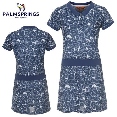 [팜스프링스] 쿠키 패턴 허리밴딩 여성 반팔 원피스(속바지 포함)/골프웨어_239035