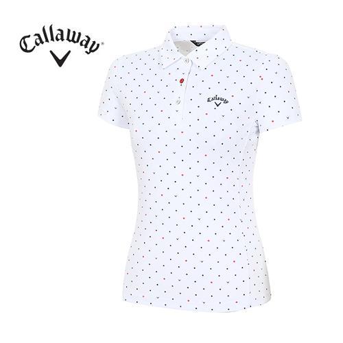 [캘러웨이]18SS 여성 도트 사선패턴 티셔츠 CWTYH6121-100