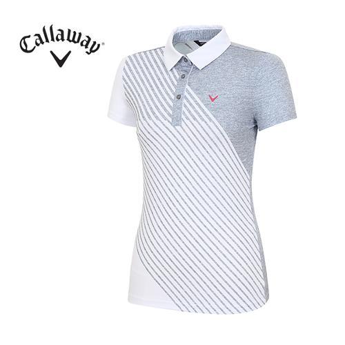 [캘러웨이]18SS 여성 사선 스트라이프 티셔츠 CWTYH6113-193