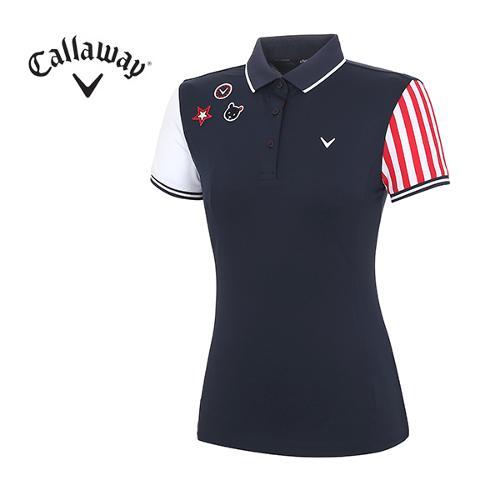[캘러웨이]18SS 여성 와펜 장식 티셔츠 CWTPH6125-915