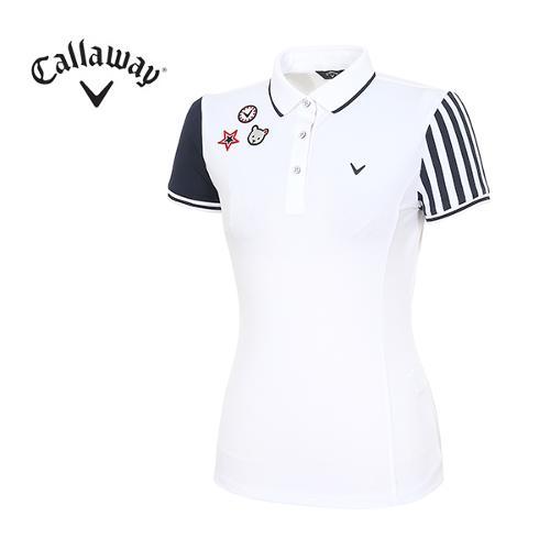 [캘러웨이]18SS 여성 와펜 장식 티셔츠 CWTPH6125-100