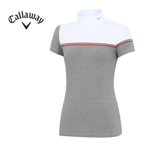[캘러웨이]18SS 여성 반넥 스퀘이 배색 티셔츠 CWTHH6151-100