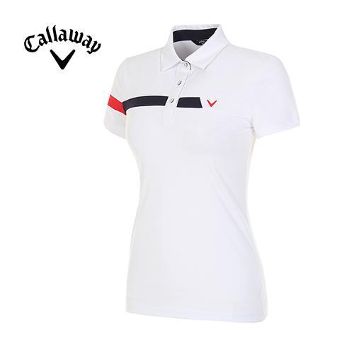 [캘러웨이]18SS 여성 스포티 라인 반팔 카라 티셔츠 CWTYH6105-100