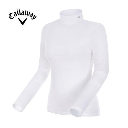 [캘러웨이]여성 스트라이프 메쉬 하이넥 티셔츠 CWTHG6147-100