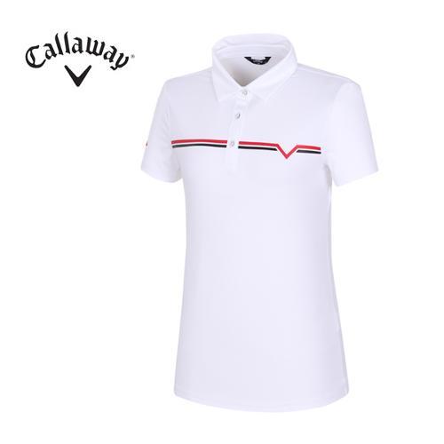 [캘러웨이]여성 기능성 브이 카라 반팔 티셔츠 CWTYG6151-100