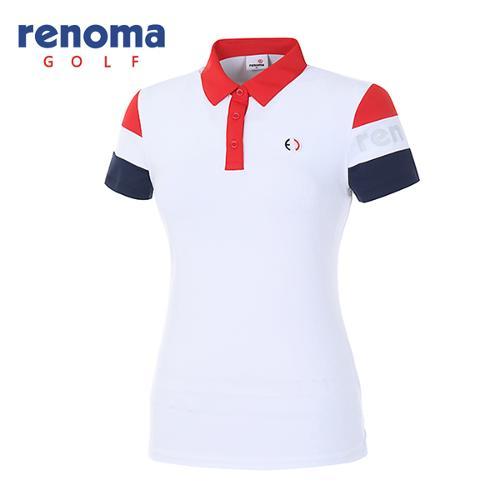 [레노마골프]18SS 여성 소매 배색 반팔 티셔츠 RWTYH6104-100
