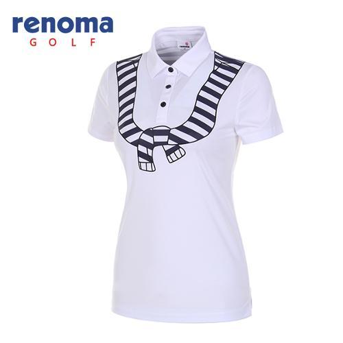 [레노마골프]18SS 여성 마린 프린트 카라 티셔츠 RWTYH6106-100