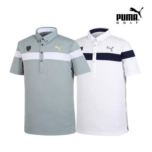 [푸마골프] 남성 체스트 와펜 디테일 PK 반팔 티셔츠 2종 택1_GA