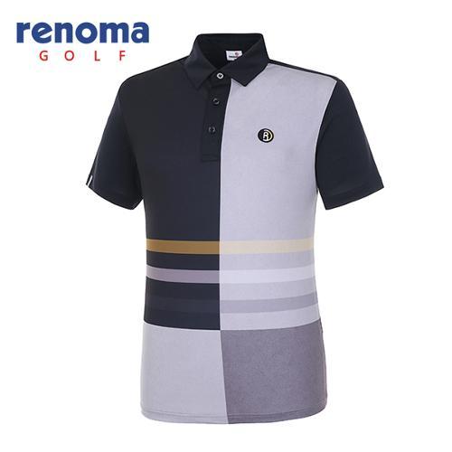 [레노마골프]18SS 남성 면 블럭 반팔 티셔츠 RMTYH2108-199