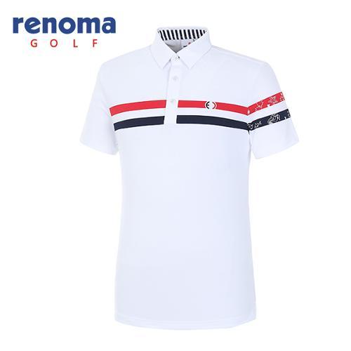 [레노마골프]18SS 남성 바다 배색 반팔 티셔츠  RMTYH2104-100
