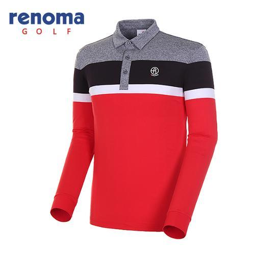 [레노마골프]18SS 남성 멜란지 컬러블록 카라 티셔츠 RMTYH1105-500