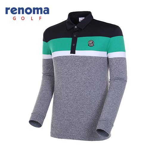 [레노마골프]18SS 남성 멜란지 컬러블록 카라 티셔츠 RMTYH1105-190